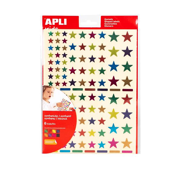 Gomets estrelles multicolor metal·litzades permanents -Sobre