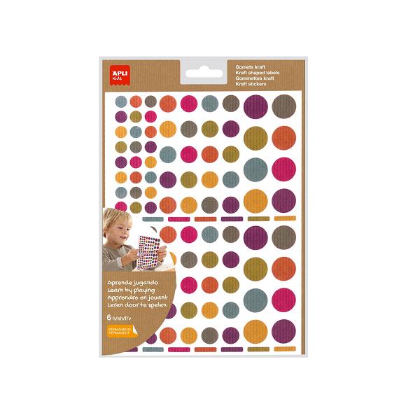 Gomets rodons Kraft permanents multicolor Apli-Sobre